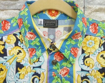 Vintage Gianni Versace Shirt Versus Versace Couture Print Baroque Style Shirt Rare Designer Fashion Versace Ittierre Made in Italy