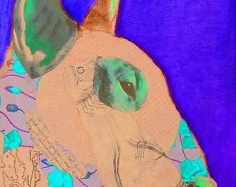 Bullie blue  English Bull Terrier Mixed Media Collage art