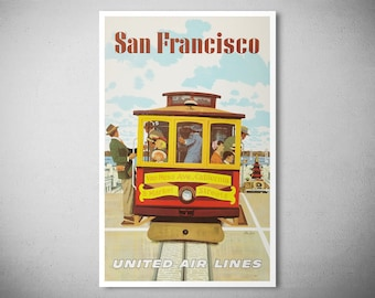 San Francisco - United Airlines -  Vintage Airline Poster Print, Sticker or Canvas Print / Gift Idea
