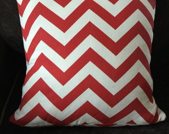 Red chevron pillow cover 14x14