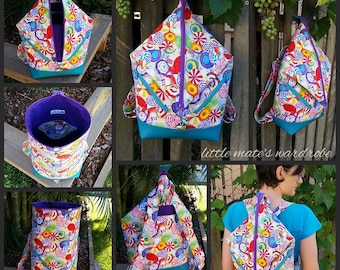 Andrea's Rucksack Bag PDF Sewing Bag Pattern- Pattern includes 2 sizes RLR Creations