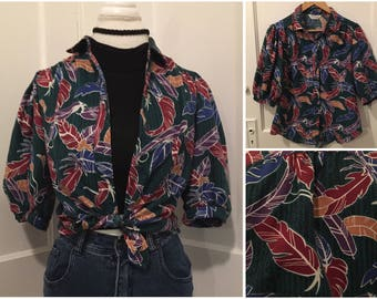 Vintage Tropical Colorful Feather Print Button Up Top // Cheryl Fiego size 12 Medium Large // 80's Turquoise Hipster Festival Cuba Island