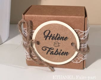 Box dragees wedding Kraft and lace - set of 10