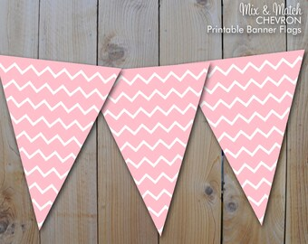 Printable Banner, Pink Chevron, Mix and Match Party Printables / Instant Download / PRINTABLE / 250