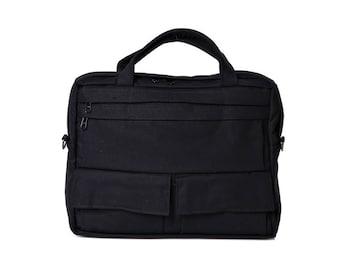 Black,Messenger Bag, Briefcase,Padded laptop Bag, travel Bag- D.T in Black cotton canvas