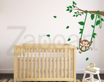 Monkey Swinging on a Tree Wall Decal