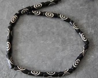 """Batik Bone SpiralTube Beads, 18"""" long full strand"""
