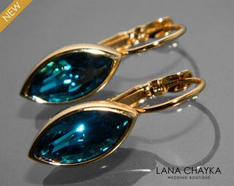 Indicolite Teal Crystal Marquise Earrings Swarovski Indicolite Gold Leverback Earrings Wedding Bridesmaid Dark Teal Earring Bridal Jewelry