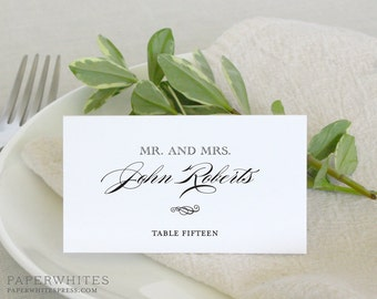 """Printed Wedding Place Card Classic Style """"Fiona"""" Tented Wedding Place Cards"""