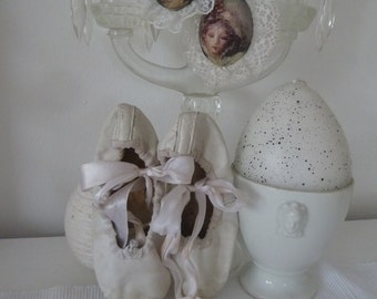 White ballet shoes with satin ribbons leather vintage Shabbychic