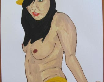 "female nude acrylic painting ""Yo"" signed G.Vanspey A4 drawing"