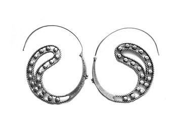 Mandala earrings-Silver spiral earrings- Peacock Tribal earrings-Antique Finish -Tribal Jewelry -boho Jewelry-Ornate Hoop Earrings