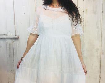 Vintage White Victorian Dress// 1900s Cotton Victorian Dress//Vintage Edwardian Dress