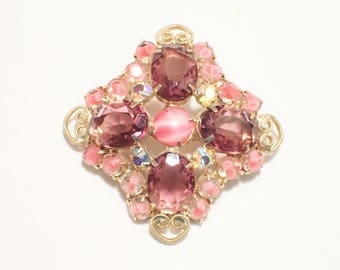 Purple Rhinestone Brooch with Pink Cats Eye Glass and Pink Sabrina Stones