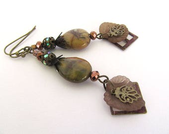 Autumn Jasper Earrings, Rustic Gemstone Earrings, Fall Beaded Earrings, Earthy Earrings, Gemstone Dangles, Moonlilydesigns, Boho Chic