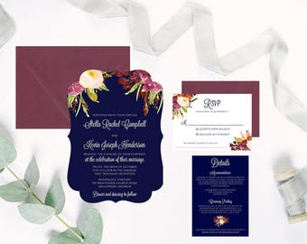 Navy Burgundy Wedding Invitations Floral Fall Winter Wedding DEPOSIT
