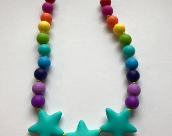 Chic 3 Star Large Silicone Teething Necklace