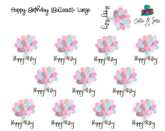 Happy Birthday (Balloons) Planner Stickers