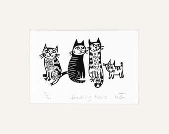 Feeding time - pet art, cat, lino print, cats, handmade, kitty, pet gifts, pet art, linocut, humour, original, art, printmaking, kitten