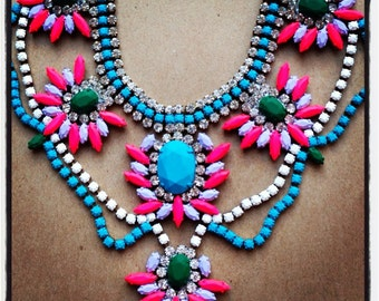 Custom Vintage Hand Painted Rhinestone Statement Necklace - Dannijo look
