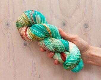 Hand dyed yarn, merino yarn, nylon yarn, dk yarn, hand dyed dk yarn, variegated yarn, blue yarn, green yarn, pink yarn, dk yarn, coral yarn