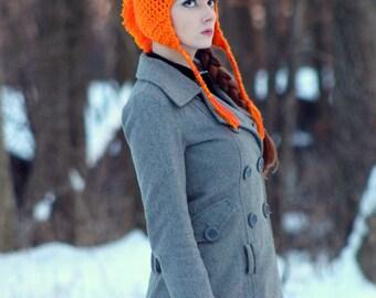 Orange MoHawk Ear Flap Hat For Winter Great Gift