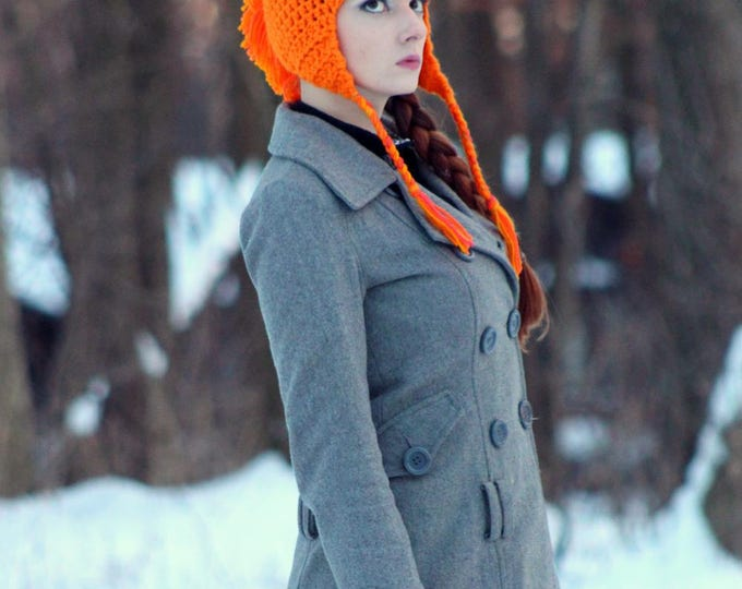 Orange MoHawk Ear Flap Hat For Winter Great Gift