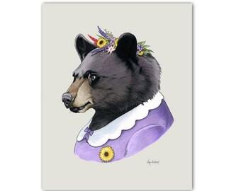 Mama Bear art print - Woodland nursery - Nursery art - Woodland animals - Animals in Clothes - Bear Print - Ryan Berkley Illustration 8x10