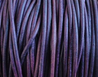 1.5mm Violet Purple Natural Dye Genuine Leather Round Cord - 10 Yard Increments