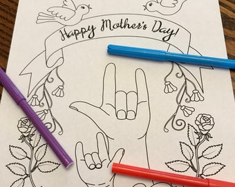 "Happy Mother's Day coloring page with mother and child signing ""I love you"" in ASL, printable"