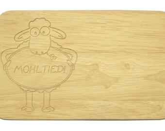Breakfast board Mohltied Brotbrett Sheep flat English-breakfast board-engraving