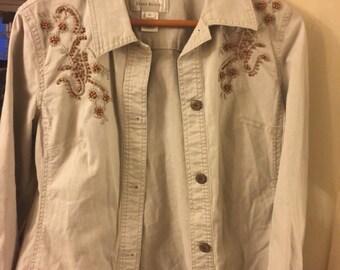 Retro Jacket/ Susan Bristol Cotton Spandex/ Funky Lightweight Jacket/ Embroidered-Beaded/ Funky Funwear/ Shabbyfab  Thrift