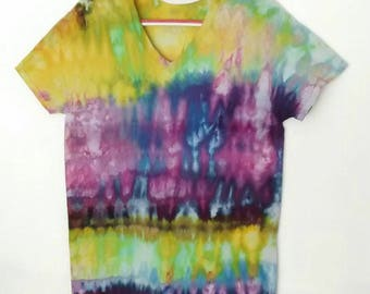 Chartreuse Yellow and Purple Tie Dyed Tee Shirt Medium Unisex Urchin colorway