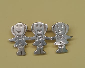 Mexico Pin 925 T9-10 Girl Triplets