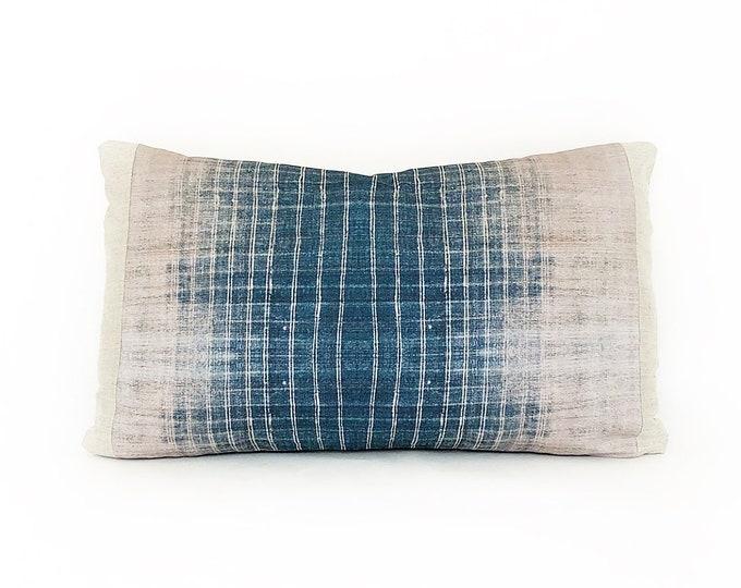 OUTDOOR Indigo Batik Tribal Printed Lumbar Pillow Cover 12x20