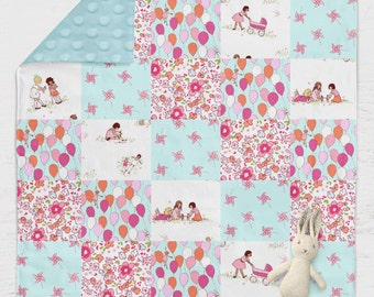 "Baby Crib Patchwork Blanket ⎮ FREE SHIPPING ⎮ Little Girl ⎮ Children at Play ⎮ Dolly ⎮ Flowers ⎮Retro ⎮ 35"" X 49"""