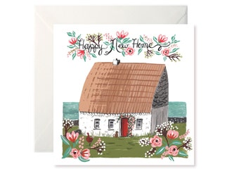 Happy New Home Irish Cottage Greetings Card