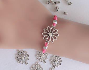 Flower Bracelet, Floral Bracelet, Silver Daisy Bracelet, Charm Bracelet, Wish bracelet