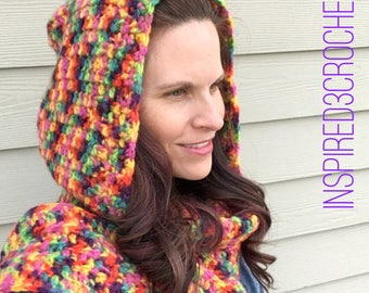 Hooded Crochet Scarf with Tassels - Rainbow Scarf - Hoodie Scarf - Gifts for her
