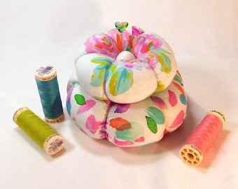 Early Roses Double Decker Pincushion, With Emery  Ready to Ship