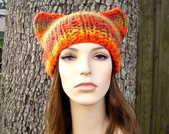 Knit Hat Womens Hat - Orange Cat Beanie Hat in Autumn Orange and Yellow Knit Hat - Orange Hat Orange Beanie Womens Accessories Winter Hat