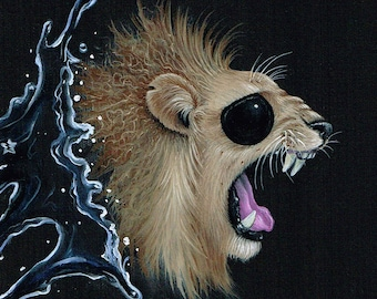 Sugar Fueled Pity Lion Lions Animal Animals Extinguish Water Series Pop Surrealism Surreal Lowbrow cute big eyes eye small art prints
