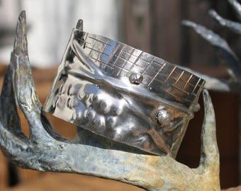 Handmade sterling silver bracelet, handmade bracelet, sterling silver, hammered, patina, rustic, organic