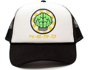 Custom N*E*R*D NEPTUNES NERD Trucker Hat Mesh Hat Snapback cap Black Curved