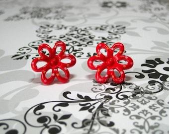 Retro Polka Dot Flower Earrings