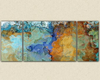"""Very large abstract wall art canvas print, 30x72 to 40x90 triptych in earth tones and blues, from abstract painting """"Crossing the Bridge"""""""