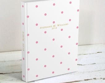 Polka Dot Journal Personalized with Name - Pink & Gold Hardcover Blank Book - Lined 2018 Journal - Gift for Women, Gift for Boss