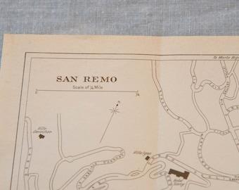 1952 San Remo Italy Vintage Map