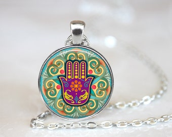 Hamsa Hand Yoga Meditation Glass Pendant, Photo Glass Necklace, Glass Keychain