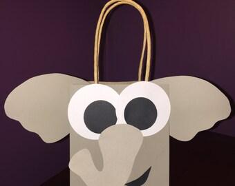 Party Favor Gift Bag / Goodie Bag / Treat Bag / Doggie Bag / Birthday / Baby Shower / Safari / Zoo Animals / Elephant